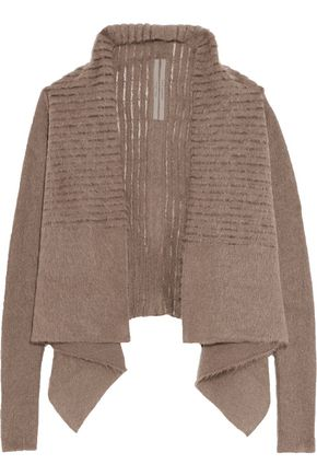 RICK OWENS Draped tulle-paneled mohair-blend cardigan