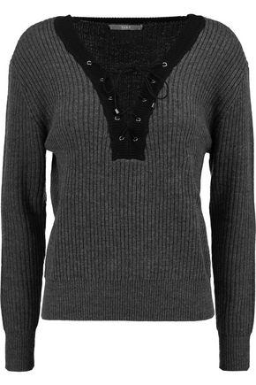 TART Amity lace-up ribbed merino wool sweater
