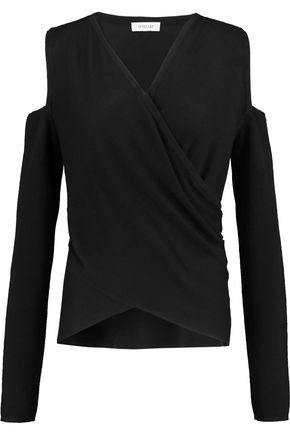 DEREK LAM 10 CROSBY Wrap-effect cold-shoulder silk and cashmere-blend sweater