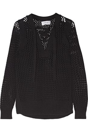 10 CROSBY DEREK LAM Lace-up open-knit cotton sweater