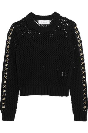 10 CROSBY DEREK LAM Eyelet-embellished open-knit cotton sweater
