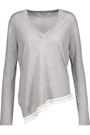 DEREK LAM 10 CROSBY Asymmetric embellished silk and cashmere-blend sweater