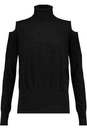 VINCE. Cold-shoulder paneled wool turtleneck sweater