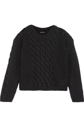 JAMES PERSE Open cable knit wool blend sweater