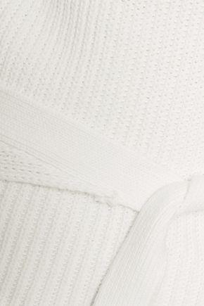 HELMUT LANG Belted ribbed cotton halterneck top