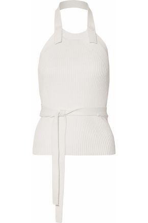 HELMUT LANG Belted ribbed cotton halterneck top