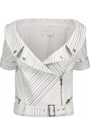 PIERRE BALMAIN Metallic striped woven biker jacket