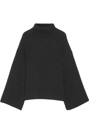 ROSETTA GETTY Asymmetric ribbed wool and cashmere-blend turtleneck sweater