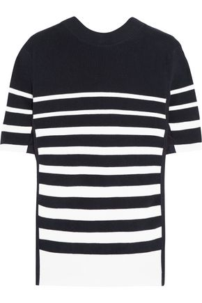 SACAI Lace-up twill-trimmed striped cotton top