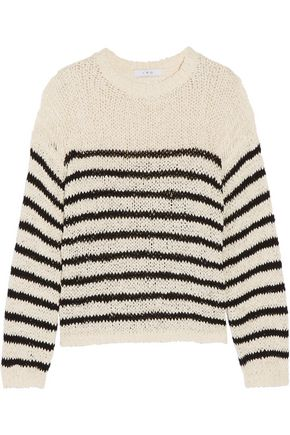 IRO Lolita striped open-knit cotton-blend sweater