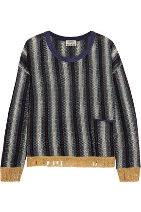 ACNE STUDIOS Blanca distressed striped knitted sweater