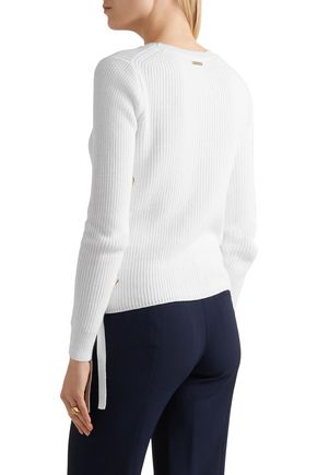 ff6056e9d0f ... MICHAEL MICHAEL KORS Lace-up ribbed cotton sweater