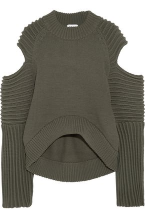 DKNY Cold-shoulder ribbed-knit sweater