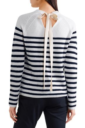 b73e21b7359 Tie-back striped ribbed cashmere sweater | JOSEPH | Sale up to 70 ...