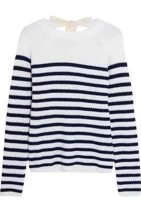 JOSEPH Bow-detailed striped cashmere sweater