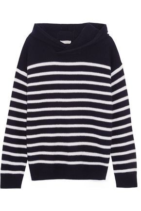 VINCE. Striped cashmere hooded sweater