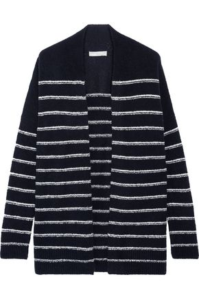 VINCE. Striped wool-blend bouclé cardigan