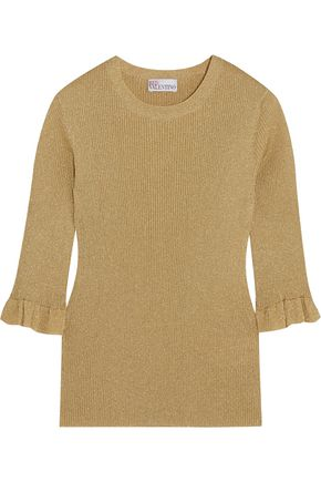 REDValentino Metallic ribbed-knit sweater