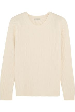 VINCE. Wrap-effect ribbed cotton and cashmere-blend sweater