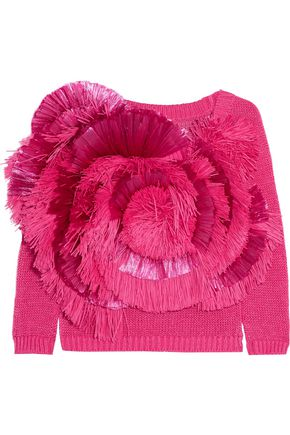 DELPOZO Cropped fringed raffia and cotton sweater