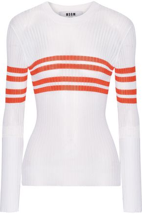 MSGM Striped ribbed-knit sweater