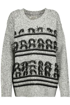 CURRENT/ELLIOTT Fringed marled wool and cashmere-blend sweater