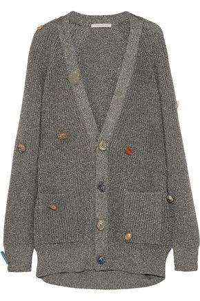 CHRISTOPHER KANE Embellished metallic ribbed-knit cardigan