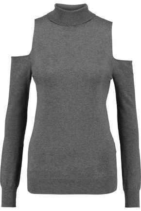 TART COLLECTIONS Muriel cold-shoulder cotton and cashmere-blend turtleneck top
