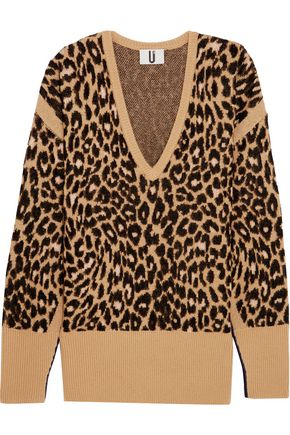 TOPSHOP UNIQUE Exhall leopard-intarsia jacquard-knit sweater