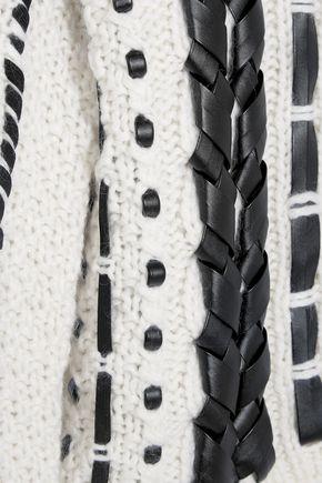 ALTUZARRA Caravan leather-trimmed cable-knit wool-blend sweater