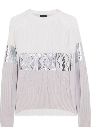 JUST CAVALLI Paneled metallic-coated and printed cable-knit sweater