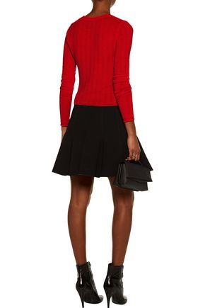 ... CARVEN Crochet-trimmed ribbed stretch-knit sweater
