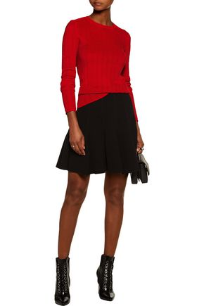 CARVEN Crochet-trimmed ribbed stretch-knit sweater
