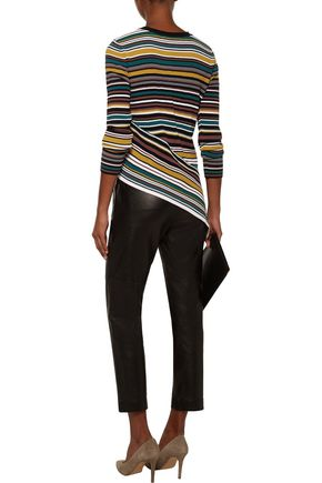 ... MILLY Asymmetric striped ribbed-knit sweater