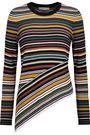MILLY Striped stretch-knit sweater