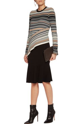 MILLY Asymmetric striped ribbed-knit sweater