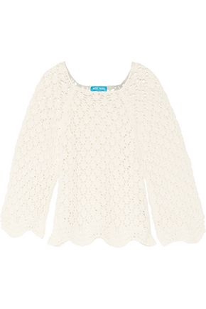 M.I.H JEANS Scalloped crochet-knit cotton and linen-blend sweater