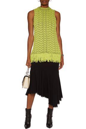 PROENZA SCHOULER Fringe-trimmed two-tone open-knit cotton-blend top