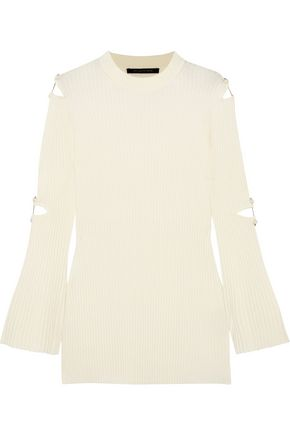 MOTHER OF PEARL Aurora embellished cutout wool-blend sweater