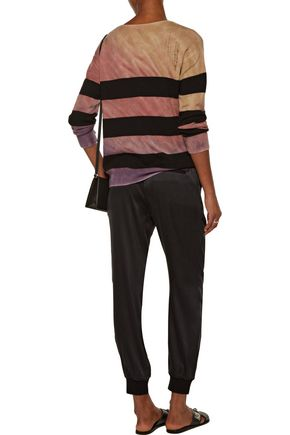 RAQUEL ALLEGRA Cropped striped wool and cashmere-blend top