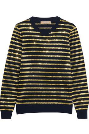 MICHAEL KORS COLLECTION Striped sequined cashmere sweater