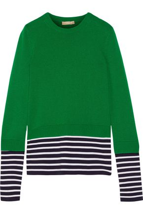 MICHAEL KORS COLLECTION Layered striped jersey and cotton and cashmere-blend sweater