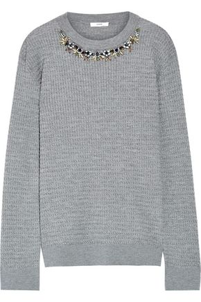 ERDEM Lana crystal-embellished cable-knit stretch wool-blend sweater