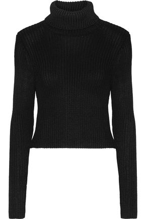 ALICE + OLIVIA Ribbed stretch-knit turtleneck sweater