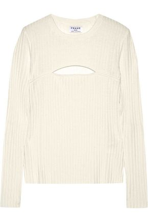 FRAME Cutout ribbed merino wool-blend sweater