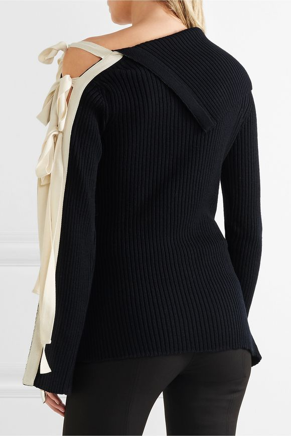 Lace-up ribbed wool-blend sweater | MONSE | Sale up to 70% off | THE OUTNET