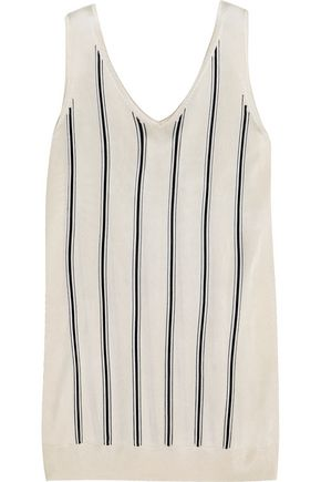 LANVIN Striped stretch-knit tank