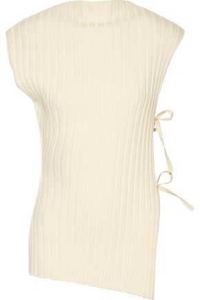 JACQUEMUS Tie-side ribbed wool top