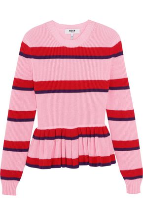 MSGM Striped cotton peplum sweater