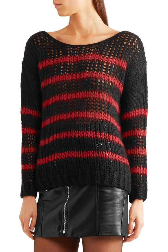 Striped open-knit wool-blend sweater | SAINT LAURENT | Sale up to 70% off |  THE OUTNET